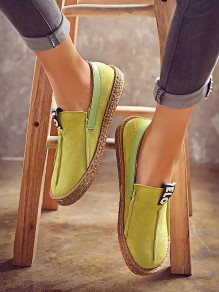 Green Round Toe Fashion Casual Flat Shoes