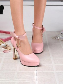 Chaussures bout rond chunky strass noeud papillon la mode à talons hauts rose