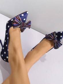 Blue Point Toe Stiletto Bow Fashion Casual High-Heeled Shoes