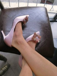 Chaussures bout pointu stylets strass à talons hauts rose