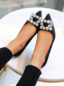 Black Point Toe Stiletto Rhinestone Sequin Fashion High-Heeled Shoes