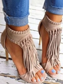 Apricot Piscine Mouth Tassel Fashion High-Heeled Sandals