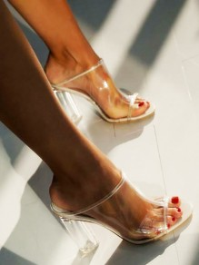 White Round Toe Transparent Casual Clear High-Heeled Sandals
