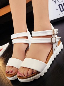 White Round Toe Buckle Fashion Low-Heeled Sandals