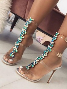 Silver Piscine Mouth Rhinestone Fashion High-Heeled Sandals