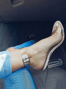 Golden Piscine Mouth Transparent Ankle Buckle clear Fashion High-Heeled Sandals