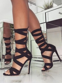 Black Round Toe Stiletto Cross Strap Cut Out Fashion High-Heeled Sandals