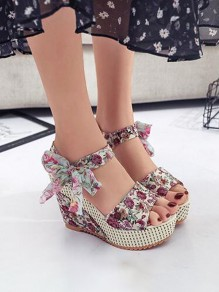 Multicolor Round Toe Heavy-Soled Bow Floral Print Fashion Wedge Sandals