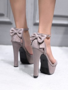 Apricot Round Toe Chunky Bow Fashion Sandaletten