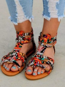 Red Round Toe Print Fashion Casual Flat Sandals