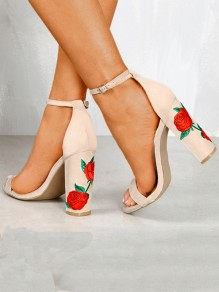 Apricot Round Toe Chunky Print Mode Sandaletten