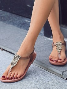 Brown Round Toe Fashion Casual Flat Sandals
