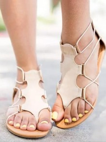 Apricot Round Toe Beads Fashion Casual Flat Sandals