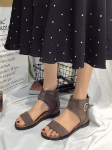 Brown Round Toe Buttons Fashion Casual Flat Sandals