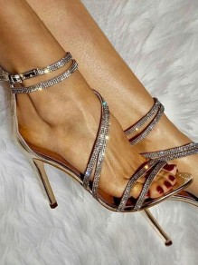 Golden Round Toe Stiletto Rhinestone Glitter Sparkly Fashion Banquet Wedding Prom High-Heeled Sandals
