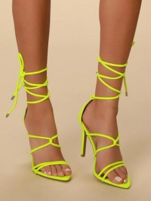 Green Point Toe Stiletto Cross Strap Fashion High-Heeled Sandals