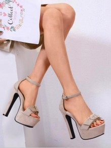 Apricot Round Toe Chunky Bow Fashion Casual High-Heeled Sandals