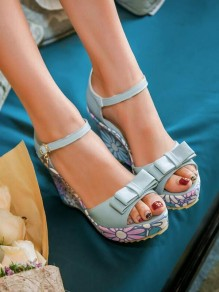 Blue Round Toe Wedges Bow Flower Buckle Fashion High-Heeled Sandals