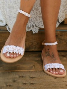 Sandales bout rond boucle mode casual plat blanc