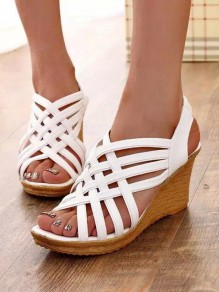 White Round Toe Wedges Cross Strap Fashion High-Heeled Sandals