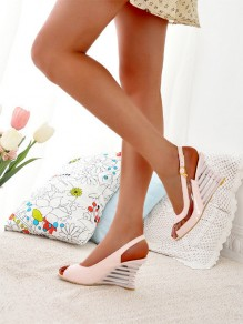 Pink Round Toe Wedges Piscine Mouth Buckle Fashion High-Heeled Sandals