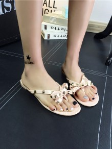 Pink Round Toe Bow Rivet Fashion Flat Sandals