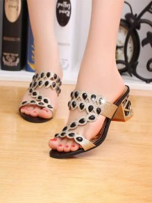 Black Round Toe Chunky Rhinestone Fashion Mid-Heeled Sandals