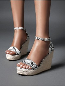 White Round Toe Wedges Leopard Fashion High-Heeled Sandals