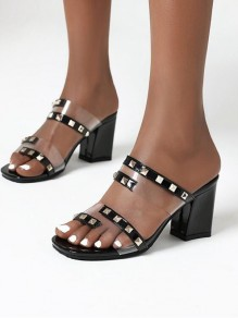 Black Round Toe Chunky Rivet Casual Fashion High-Heeled Sandals