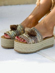 Beige Round Toe Embroidery Fashion Mid-Heeled Sandals
