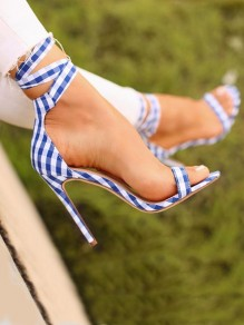 Blue Round Toe Stiletto Print Lace-up Fashion High-Heeled Sandals