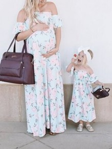 White Floral Off Shoulder Pleated Maternity For Babyshowes Maxi Dress