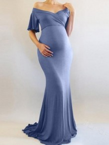 Light Blue Draped Off Shoulder Backless Half Sleeve Mermaid Elegant Pregnant Maternity Dress