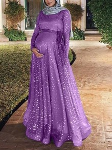 Purple Patchwork Grenadine Sequin Sashes Flowy Muslim Sparkly Banquet Party Maternity Dress
