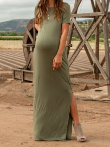 Army Green Side Slits Round Neck Short Sleeve Maternity For Babyshow Maxi Dresses