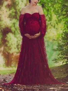 Burgundy Floral Lace Off Shoulder Lantern Sleeve Mermaid Photoshoot Maternity Dress