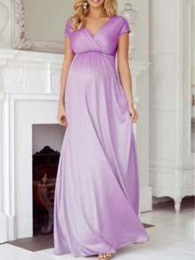 Lavender Purple Patchwork Draped Big Swing Backless V-neck Casual Oversized Maternity Photoshoot Maxi Dress