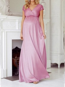 Lotus Pink Patchwork Draped Backless V-neck Oversized Maternity Dress