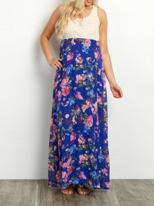 Dark Blue Floral Print Lace Sleeveless Oversized Maternity Dress