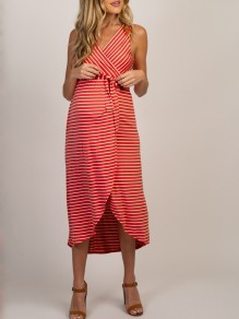Red Striped Belt Irregular V-neck Oversized Maternity Midi Dress