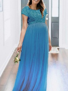 Blue Patchwork Sequin Grenadine Pleated Sparkly Glitter Birthday Prom Babyshower Maternity Maxi Dress