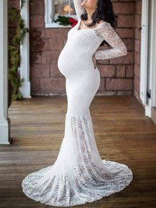 White Patchwork Lace V-neck Long Sleeve Mermaid Elegant Maternity Photoshoot Babyshower Maxi Dress