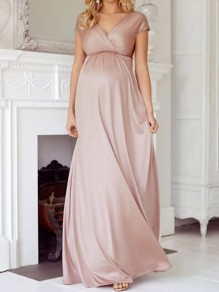 Blush Pink Draped Deep V-neck Plus Size Elegant Banquet Party Maternity Dress