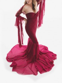 Burgundy Patchwork Grenadine Lace Off Shoulder Bodycon Mermaid Maternity For Babyshowes Maxi Dress