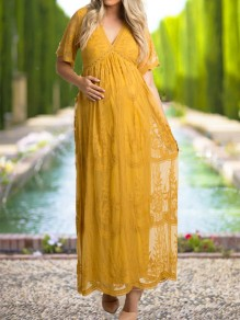 Ginger Yellow Patchwork Lace V-neck Elegant Maternity Maxi Dress