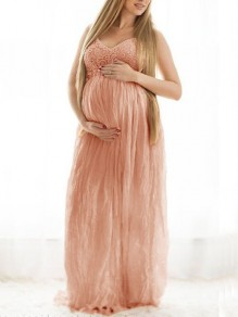 Pink Patchwork Lace Pleated Backless Spaghetti Strap V-neck Maternity Maxi Dress
