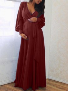 Burgundy Sashes Draped Deep V-neck Lantern Sleeve Baby Shower Elegant Party Maternity Dress