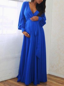 Blue Sashes Draped Deep V-neck Lantern Sleeve Baby Shower Elegant Party Maternity Dress
