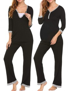 Black Patchwork Buttons Maternity and Lactant Women Two Piece Fashion Long Jumpsuit