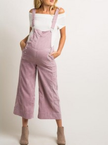 Pink Pockets Double Breasted Overall Wide Leg Palazzo Nine's Maternity Jumpsuit